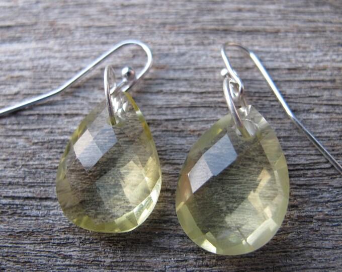 Lemon Quartz Teardrop Dangle Earring- Yellow Quartz Drop Pear Earring- Simple Yellow Gemstone Silver Earring
