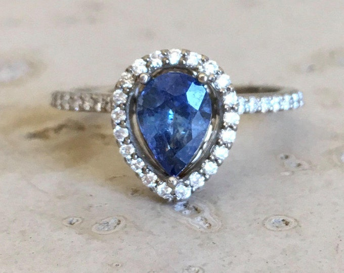 Blue Sapphire Engagement Ring- Sapphire Pear Shape Promise Ring- Genuine Sapphire Halo Diamond Ring- Blue Gemstone Anniversary Ring