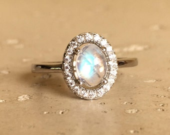 Halo Engagement Ring- Oval Ring- Promise Ring- Wedding Ring- Solitaire Ring- Moonstone Promise Ring- Sterling Silver Ring- June Ring
