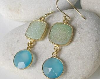 Green Blue Drop Earring- Druzy Danlge Earring- Summer Colorful Earring- Boho Festival Earring- Two Stone Earring- Double Drop Earring