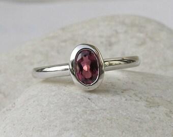 Small Garnet Oval Silver Ring