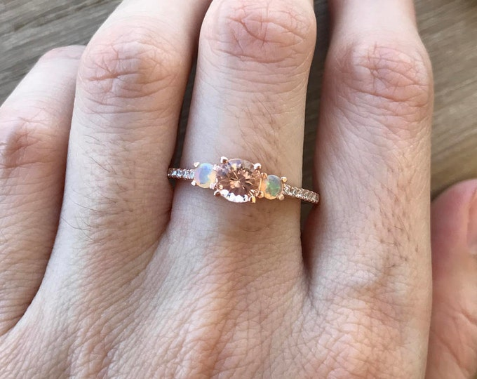Morganite Opal Engagement Ring- Rose Gold Engagement Ring- Three Stone Anniversary Ring- Unique Promise Ring- Jewelry Gifts for Her