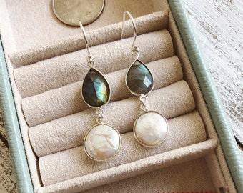 Pearl Labradorite Dangle Bohemian Earring- 2 Stone Long Drop Boho Earring- Handmade Iridescent Double Drop Earring- Silver Stone Earring