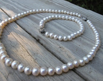 Genuine Pearl Jewelry Set Freshwater Pearl Jewelry Earring Bracelet Necklace Real White Pearl Jewelry Bridal Pearl Jewelry