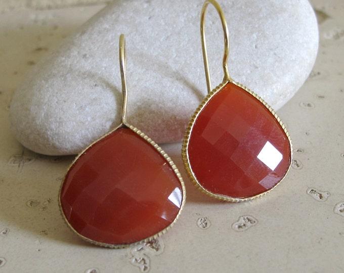 Teardrop Carnelian Dangle Earring- Red Orange Drop Earring- Bohemian Minimalist Classic Pear Earring- Bridesmaid Gemstone Earring