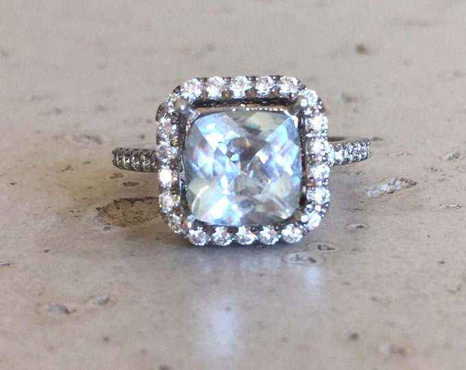 Aquamarine Engagement Large Ring- Cushion Princess Square Ring Rose Gold 2.5ct Aquamarine Blue Gemstone Engagement Aquamarine