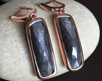 Gray Sapphire Dangle Earring- Rose Gold Drop Earring- Long Rectangle Genuine Sapphire Earring- Bar Raw Natural Sapphire September Earring