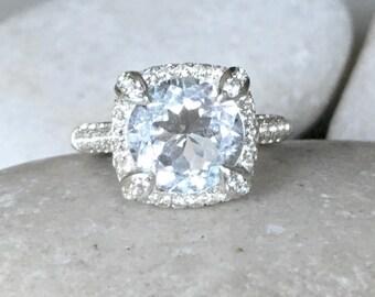 White Topaz Alternative Engagement Ring- Round Halo Engagement Ring- Clear Stone Promise Ring-Classic Anniversary Ring-April Birthstone Ring