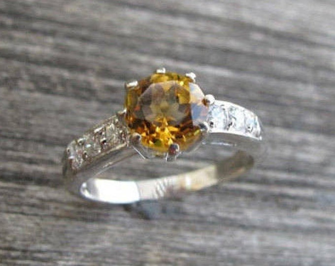 Citrine Engagement 8 Prong Ring- Yellow Topaz Silver Promise Ring- Round Citrine Solitaire Anniversary Ring- November Birthstone Ring