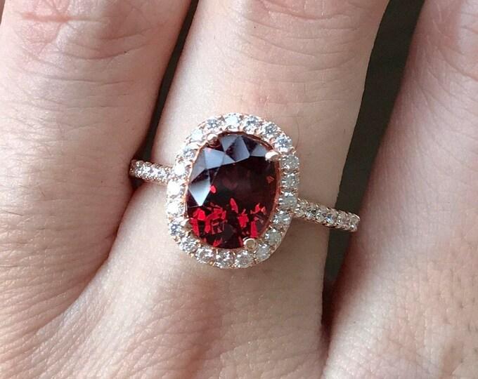2.30ct Halo Garnet Engagement Ring- Rose Gold Engagement Ring- Oval Garnet Engagement Ring- Classic Garnet Ring- Alternative Red Ring
