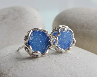 Sparkly Blue Druzy Earring- Classic Round Blue Earring- Filigree Blue Earring- Jewelry Gift for Her- Gift for Wife- Sterling Silver Earring