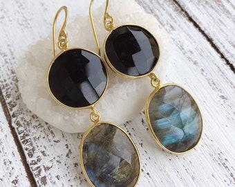 Black Onyx Boho Labradorite Dangle Earring, Long Two Stone Statement Drop Earring, Raw Stone Natural Earring, Boho Long Gemstone Earring