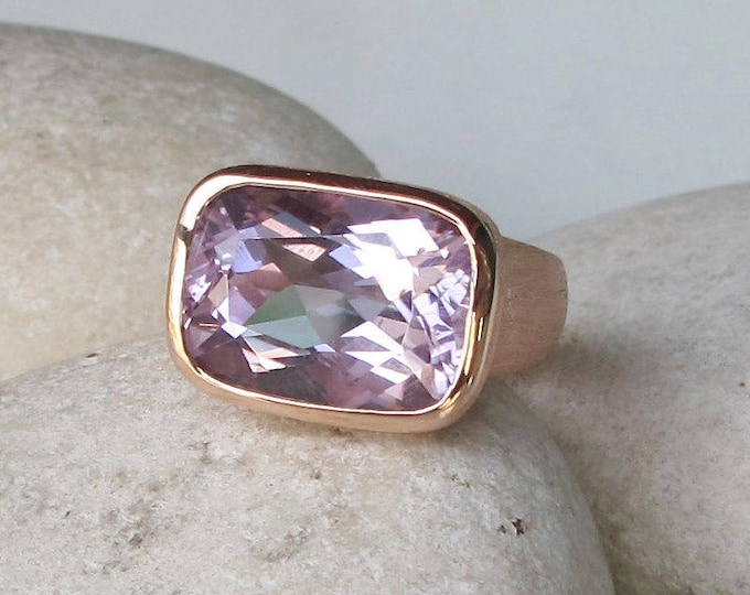 Amethyst Ring Rose Gold Large Rectangle Ring February Birthstone Ring- Amethyst Engagement Ring- Purple Amethyst Simple Ring Minimal