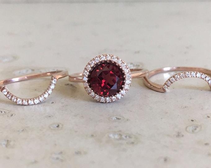 Round Garnet Halo Engagement Ring Set- Rose Gold Garnet Bridal Ring Set- Garnet Diamond 3 Piece Ring Set- Red Gemstone Alternative Ring