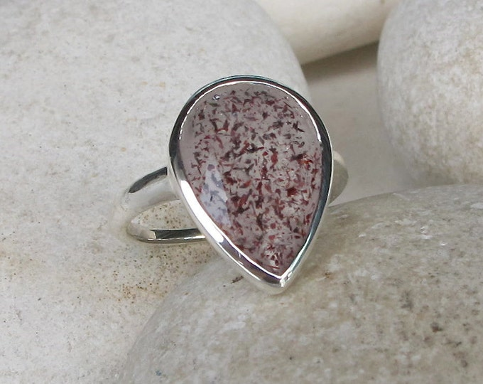 Teardrop Red Fire Quartz Solitaire Ring - Large Red Quartz Minimalist Bezel Pear Statement Ring- Natural Solitaire Lepidocrocite Ring