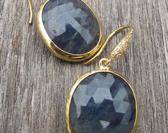 Oval Raw Blue Sapphire Dangle Earring- Rough Sapphire Evening Drop Earring- Large Blue Gemstone Statement Earring- September Stone Earring