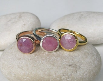 Raw Pink Sapphire Ring- Pink Gem Rose Gold Promise Ring- Round Solitaire Ring- September Sapphire Ring- Ring- Faceted Raw Pink Ring
