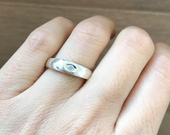 Simple Opal Wedding Band- Minimalist Opal Wedding Ring- Sterling Silver Opal Bridal Band- Natural Opal Stackable Band