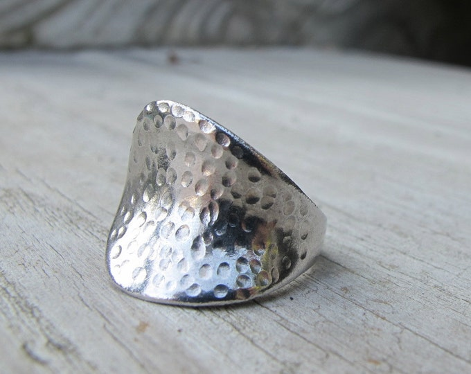 Geometric Silver Boho Ring- Minimalist Asymmetrical Ring- Modern Contemporary Unique Statement Ring Curvy Wavy Sterling Silver Ring