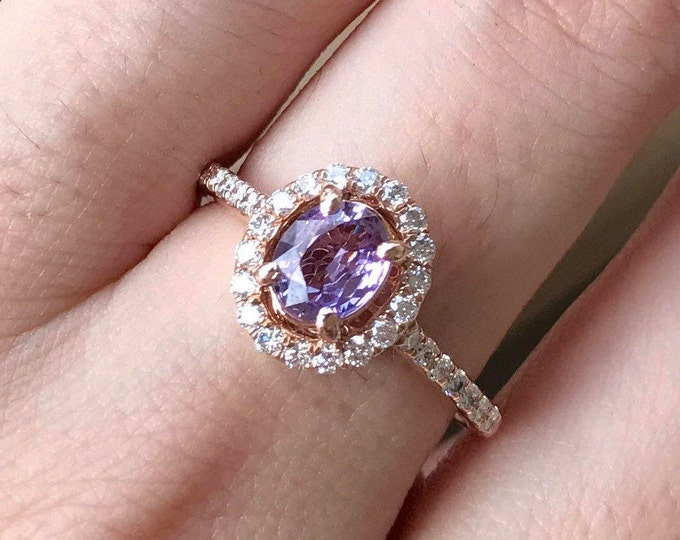 0.80ct Purple Sapphire Oval Engagement Ring- Rose Gold Sapphire Ring- Genuine Sapphire Promise Ring- Alternative Purple Gemstone Ring
