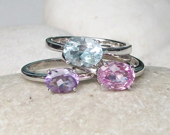 October February December Ring- Oval Stackable Ring- Stacking Ring Set- Pink Blue Topaz Amethyst Ring- Mother Family Ring- Colorful Ring Set