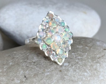 Art Deco Opal Cluster Ring- Statement Opal Gemstone Ring- Unique October Birthstone Ring- Natural Opal Multistone Ring- Sterling Silver Ring
