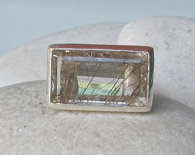 Rectangle Rutilated Quartz Ring- Large Statement Rutile Designer Ring- Unique Gemstone Quartz Ring- Minimalist Bezel Silver Ring
