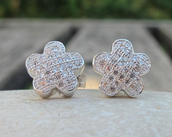 Crystal Floral Stud Post Earrings- Silver Flower Cubic Zirconia Stud