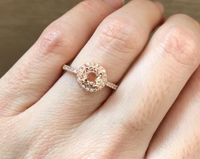 Rose Gold Morganite Engagement Ring- Halo Morganite Promise Ring-Round Stone Anniversary Ring-Pink Gemstone Classic Ring-Bridal Wedding Ring