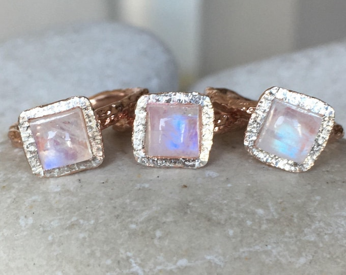 Rose Gold Moonstone Promise Ring- Unique Moonstone Engagement Ring- Princess Cut Gemstone Ring- June Birthstone Ring- Sterling Silver Ring