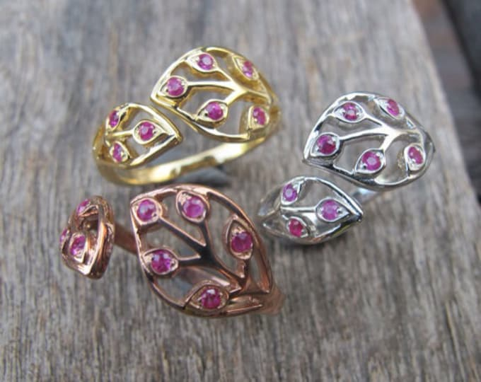 Rose Gold Leaf Ring- Promise Ring for Her- Ruby Friendship Ring- Unique Anniversary Ring- July Birthstone Ring- Mothers Ring- Leaf Ring