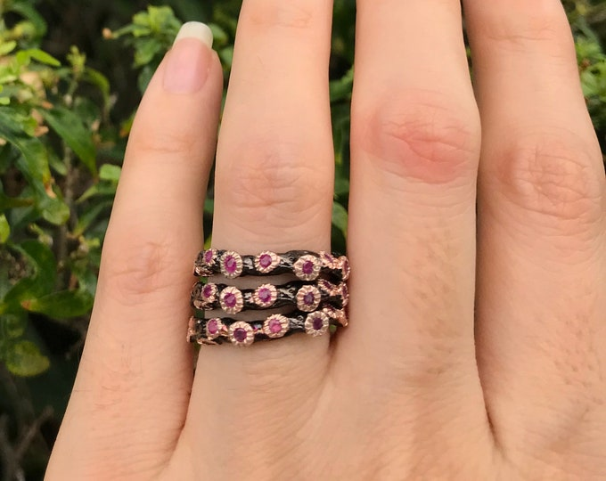 Rustic Ruby Women Wedding Band- Unique Womens Wedding Band- Half Eternity Band- Organic Ruby Band- Black Wedding Band- Stackable Band Ring