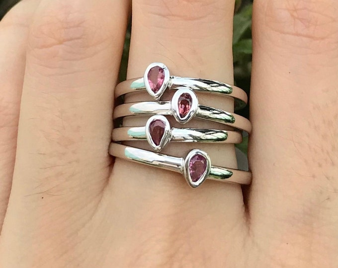 Pink Tourmaline Pear Silver Tiny Ring- Tourmaline Teardrop Stack Ring- Genuine Tourmaline Teen Ring- October Birthstone Ring- Pink Ring