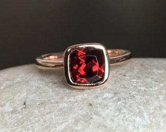 Garnet Simple Engagement Ring- Rose Gold Promise Ring- Cushion Bridal Ring- January Birthstone Ring- Genuine Garnet Anniversary Ring