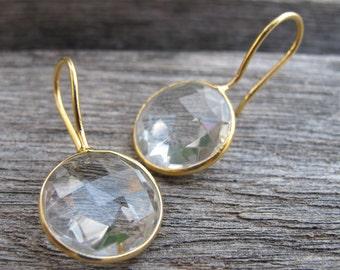 Clear Quartz Dangle Earring- White Quartz Bridal Earrings- Gold Wedding Engagement Earring- Round Silver Earring- White Topaz Earring
