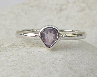 Amethyst Ring in Sterling Silver Minimal Tiny Stack Boho Teardrop Simple Dainty Amethyst Ring