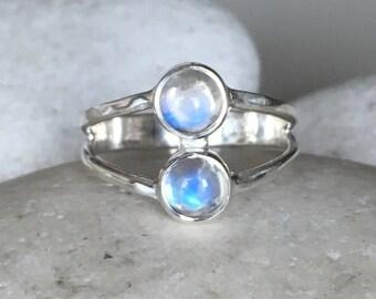 Double Moonstone Ring- Rainbow Moonstone Ring- 2 Stone Boho Ring June Birthstone Ring Multistone Moonstone Ring