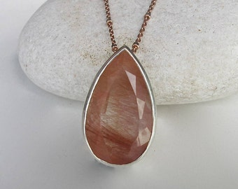 Copper Rutilated Quartz Necklace Teardrop Two Tone Simple Minimalist Rutilated Quartz Necklace