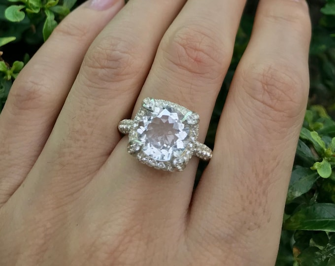 Genuine 4ct White Topaz Halo Vintage Engagement Ring- Round Large Colorless Women Sterling Silver Ring- Clear Stone Promise Anniversary Ring