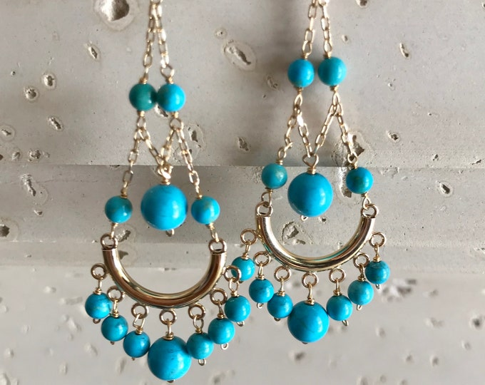 Turquoise Dangle Bead Long Earrings- 14k Gold Gemstone Chandelier Earrings- Genuine Blue Turquoise Cascade Drop Earring- December Birthstone