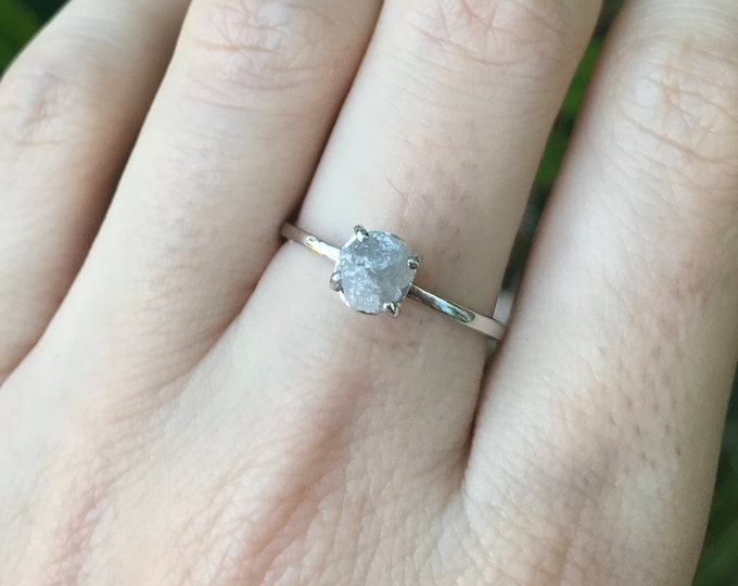 Raw Uncut Diamond Rough Engagement Ring-Dainty Gray Diamond Rustic Ring- Rough Diamond White Gold Ring