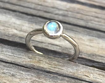 Round Labradorite Stackable Tiny Silver Bezel Ring