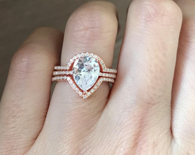 Rose Gold Bridal Set Ring- Pear Shape Engagement Ring Set- Simple Engagement 4 Prong Ring- Solitaire Wedding Ring with Half Eternity Band