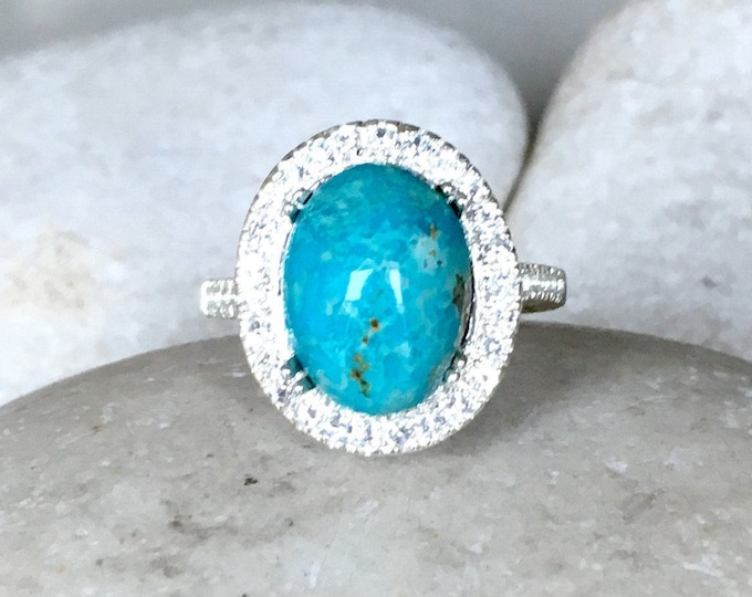Halo Turquoise Engagement Ring- Genuine Turquoise Promise Ring- Blue Bridal Wedding Ring- Statement Gemstone Ring- December Birthstone Ring