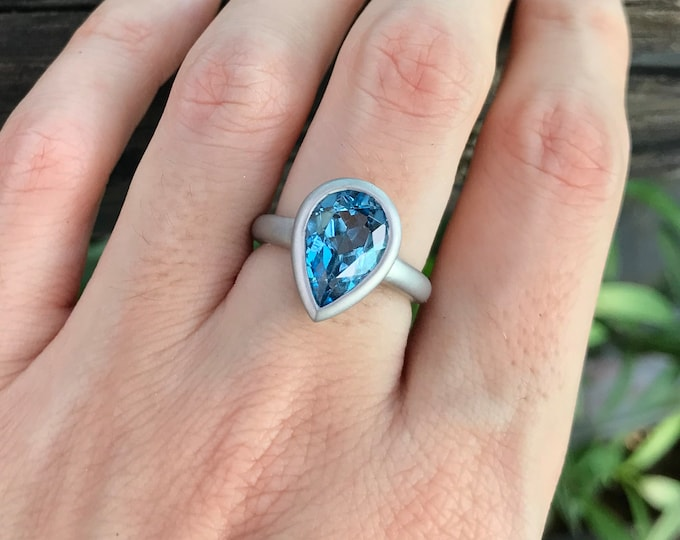 Pear Swiss Blue Topaz Engagement Ring- Blue Teardrop Promise Ring- Solitaire Simple Anniversary Ring- December Birthstone Ring