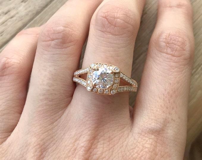 Moissanite Engagement Ring- Rose Gold Moissanite Ring- Deco Promise Moissanite Ring- Alternative Diamond Engagement Ring- Double Band Ring