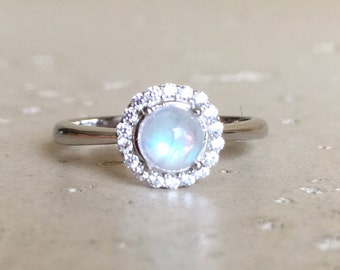 Small Moonstone Halo Promise Ring Rainbow Moonstone Engagement Ring June Birthstone Ring Round Anniversary Ring Dainty Bohemian Ring