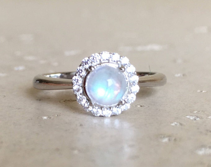 Small Moonstone Halo Promise Ring for Her- Round Rainbow Moonstone Dainty Ring- June Birthstone Ring- Anniversary Iridescent Cabochon Ring