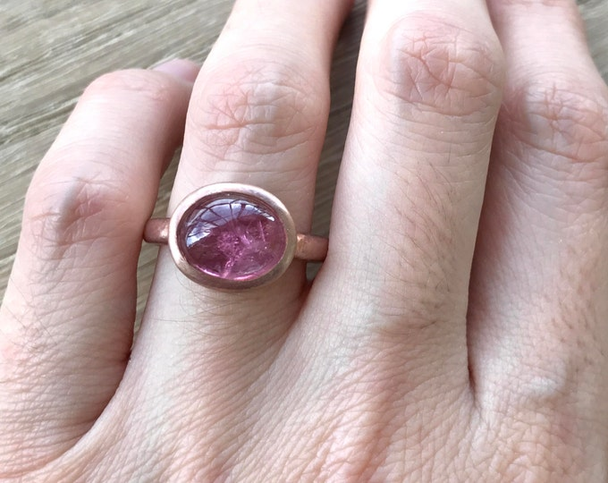 Rose Gold Tourmaline Ring- Pink Tourmaline Promise Ring- East West Engagement Ring- Simple Pink Anniversary Ring-Alternative Engagement Ring
