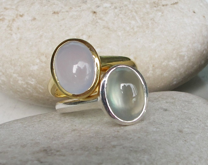 Spring Stackable Ring- Unique Gemstone Ring- Oval-Shape Statement Ring- Pastel Color Rings- Sterling Silver Ring